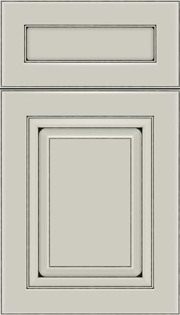Paxson 5pc Maple raised panel cabinet door in Cirrus with Black glaze