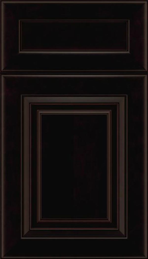 Paxson 5pc Maple raised panel cabinet door in Espresso with Black glaze