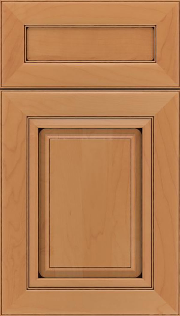 Paxson 5pc Maple raised panel cabinet door in Ginger with Black glaze