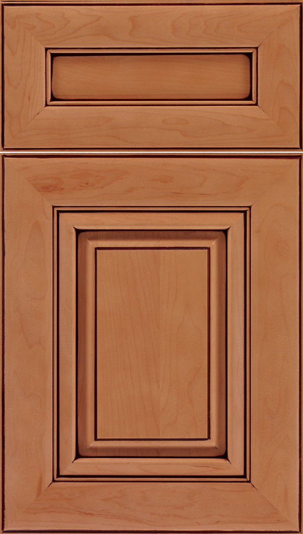 Paxson 5pc Maple raised panel cabinet door in Ginger with Mocha glaze