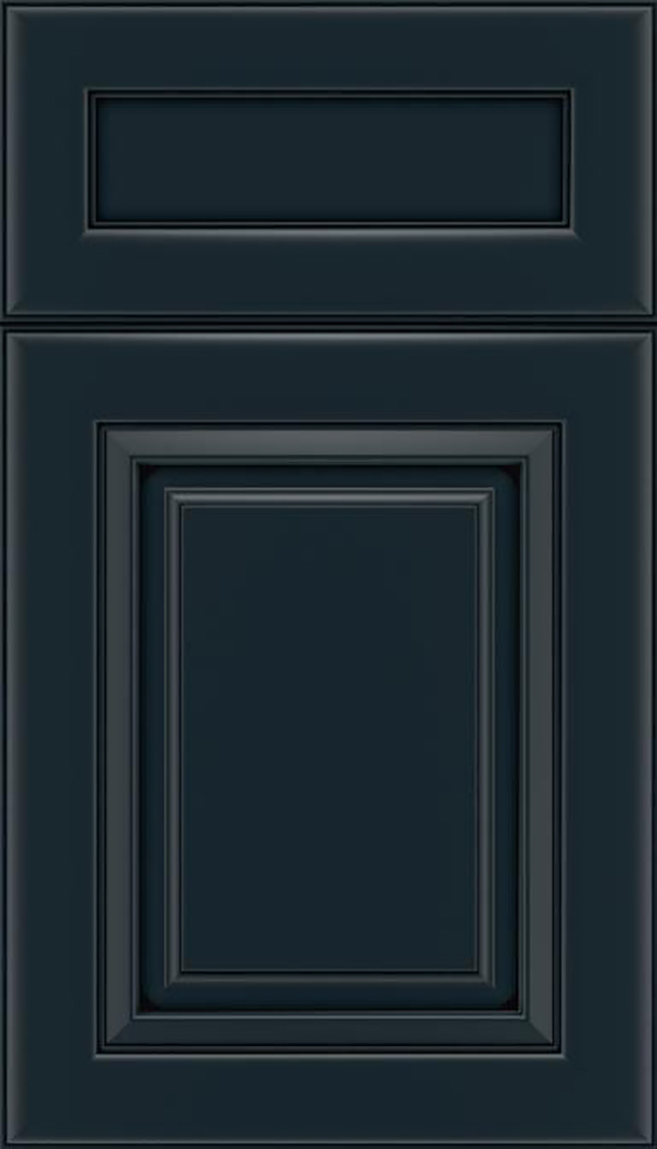 Paxson 5pc Maple raised panel cabinet door in Gunmetal Blue with Black glaze