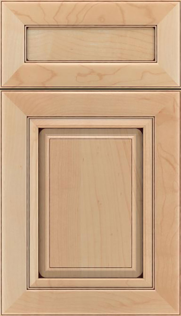 Paxson 5pc Maple raised panel cabinet door in Natural with Mocha glaze
