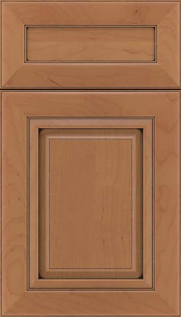 Paxson 5pc Maple raised panel cabinet door in Nutmeg with Mocha glaze