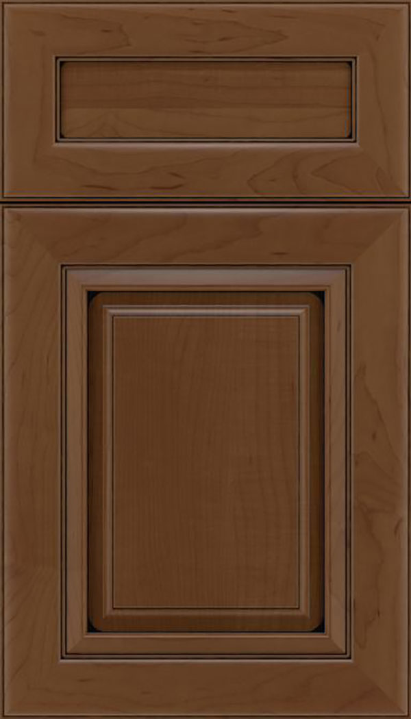 Paxson 5pc Maple raised panel cabinet door in Sienna with Black glaze