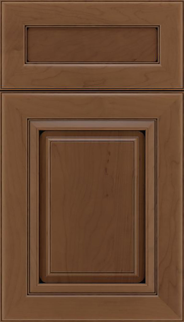 Paxson 5pc Maple raised panel cabinet door in Toffee with Black glaze