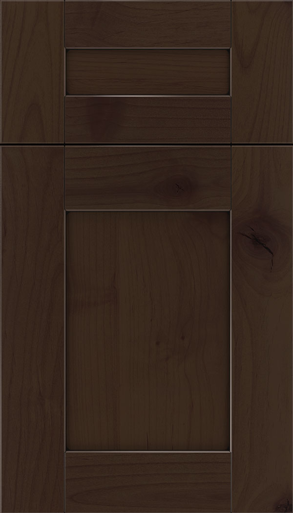 Pearson 5pc Alder flat panel cabinet door in Cappuccino with Black glaze