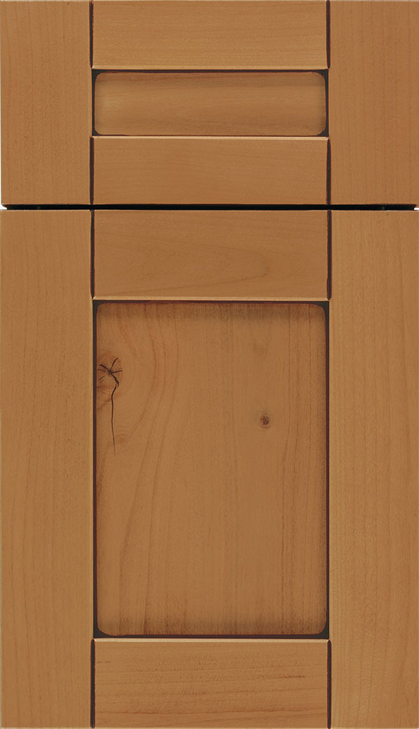 Pearson 5-Piece Alder flat panel cabinet door in Ginger with Mocha glaze