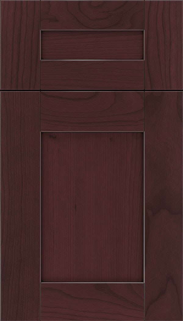 Pearson 5pc Cherry flat panel cabinet door in Bordeaux with Black glaze