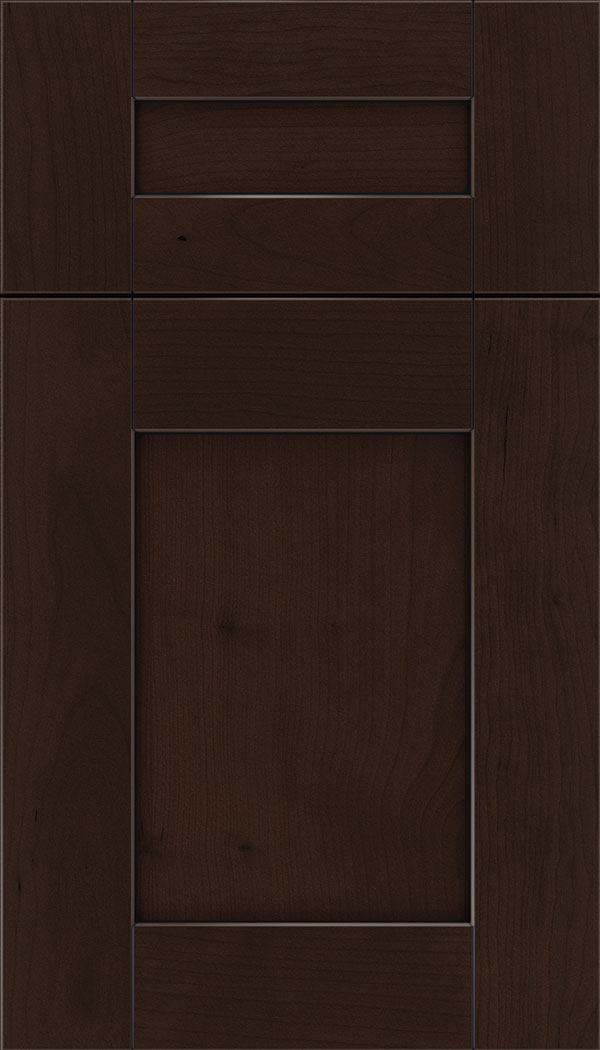 Pearson 5pc Cherry flat panel cabinet door in Cappuccino with Black glaze