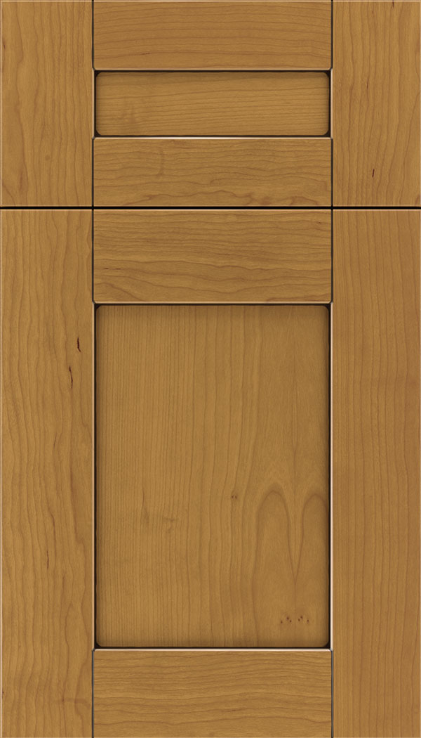 Pearson 5pc Cherry flat panel cabinet door in Ginger with Black glaze