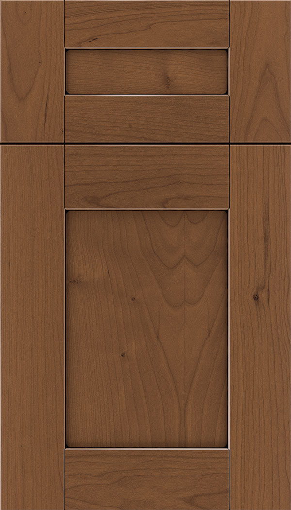 Pearson 5pc Cherry flat panel cabinet door in Nutmeg with Black glaze