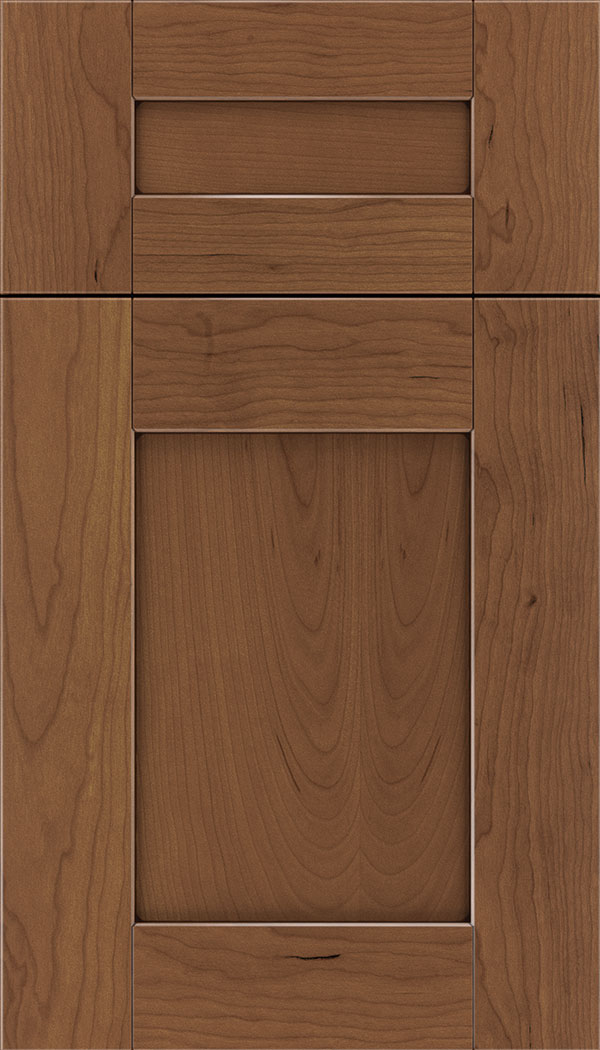 Pearson 5pc Cherry flat panel cabinet door in Nutmeg with Mocha glaze
