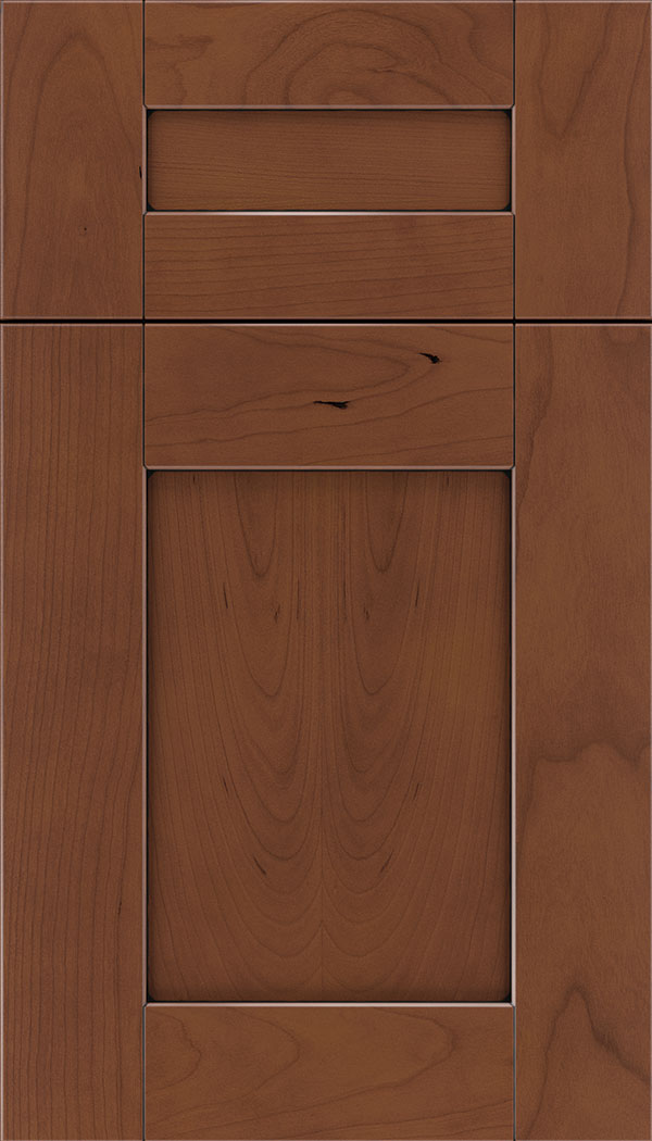 Pearson 5pc Cherry flat panel cabinet door in Russet with Black glaze