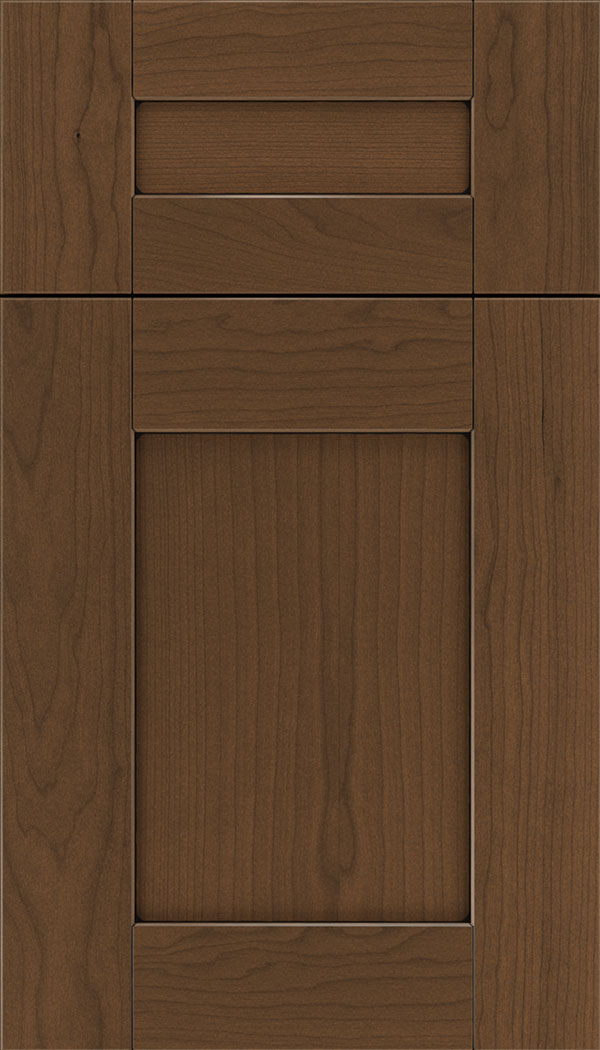 Pearson 5pc Cherry flat panel cabinet door in Sienna with Black glaze