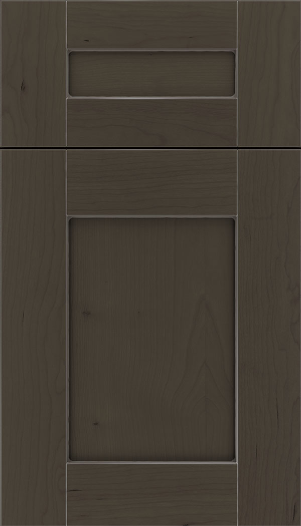 Pearson 5pc Cherry flat panel cabinet door in Thunder with Pewter glaze
