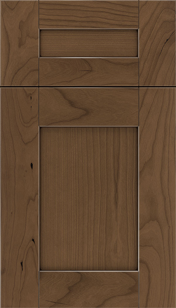 Pearson 5pc Cherry flat panel cabinet door in Toffee with Mocha glaze