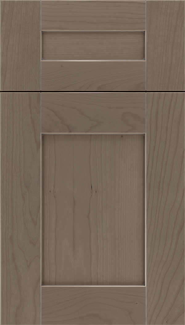 Pearson 5pc Cherry flat panel cabinet door in Winter with Pewter glaze