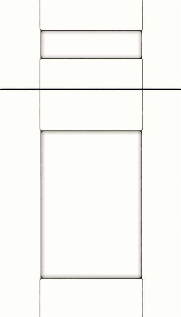 Pearson 5pc Maple flat panel cabinet door in Alabaster with Smoke glaze