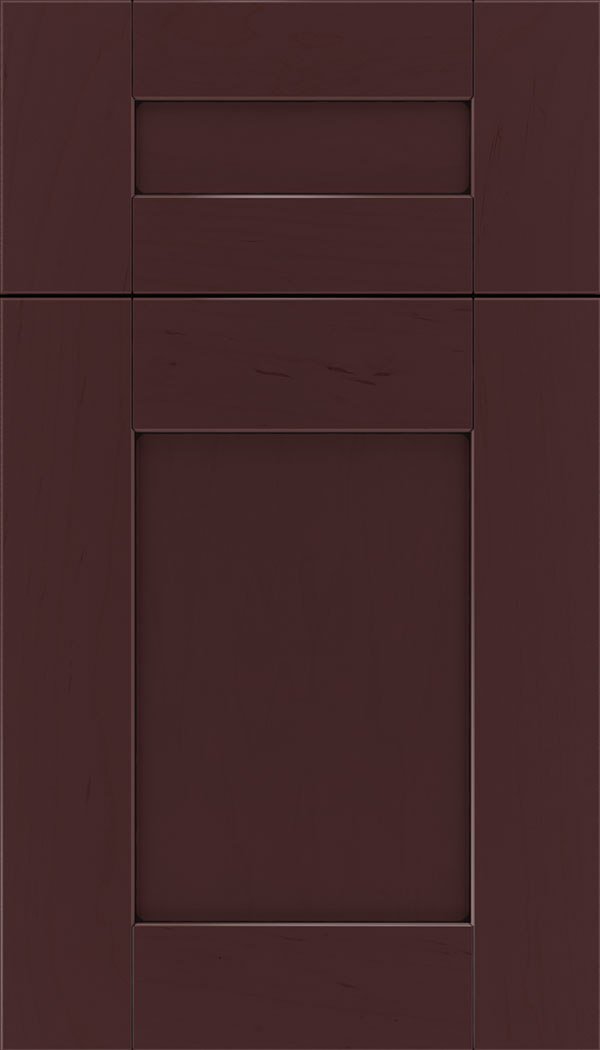Pearson 5pc Maple flat panel cabinet door in Bordeaux with Black glaze