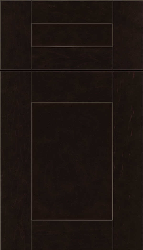 Pearson 5pc Maple flat panel cabinet door in Espresso with Black glaze