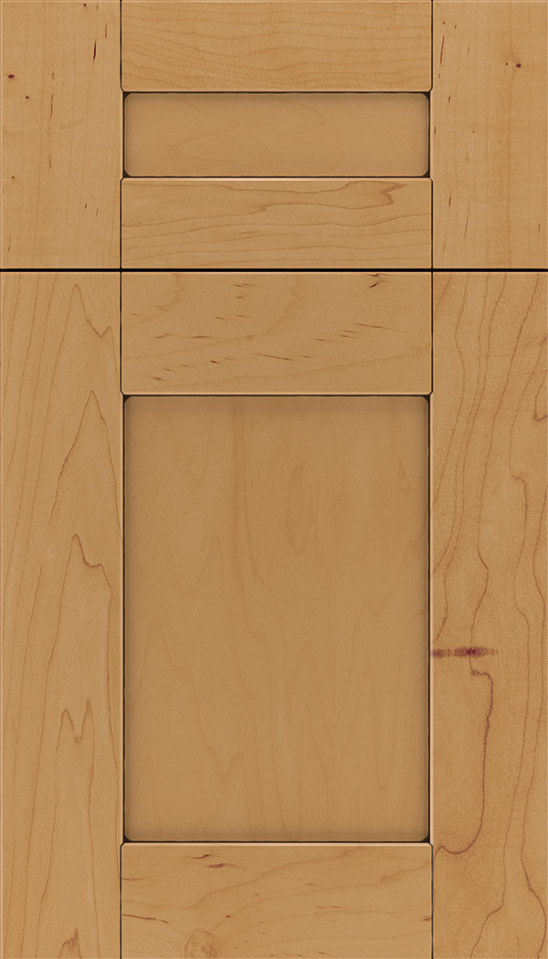 Pearson 5pc Maple flat panel cabinet door in Ginger with Black glaze
