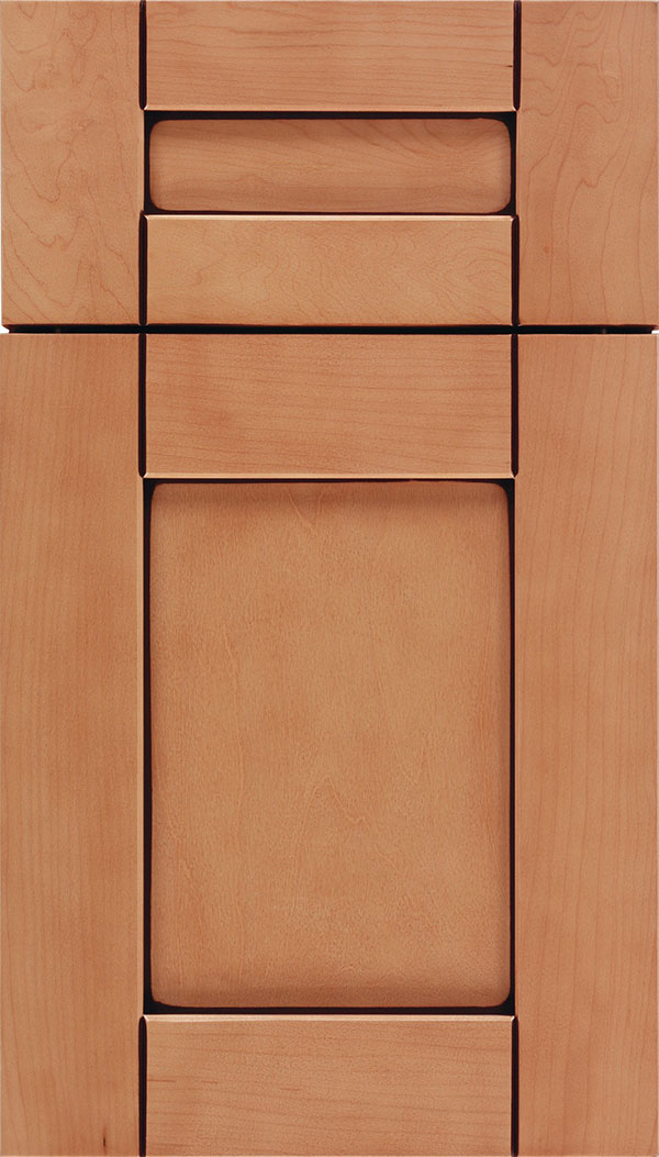 Pearson 5pc Maple flat panel cabinet door in Ginger with Mocha glaze