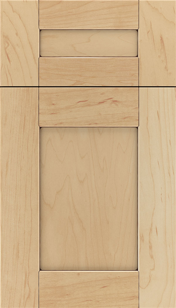 Pearson 5pc Maple flat panel cabinet door in Natural with Mocha glaze