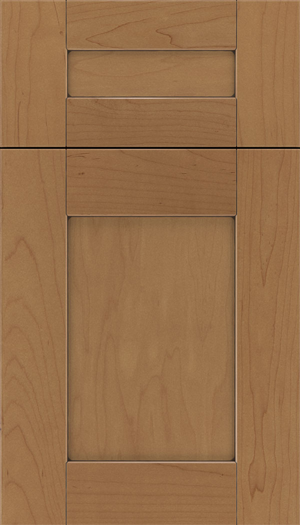 Pearson 5pc Maple flat panel cabinet door in Nutmeg with Mocha glaze