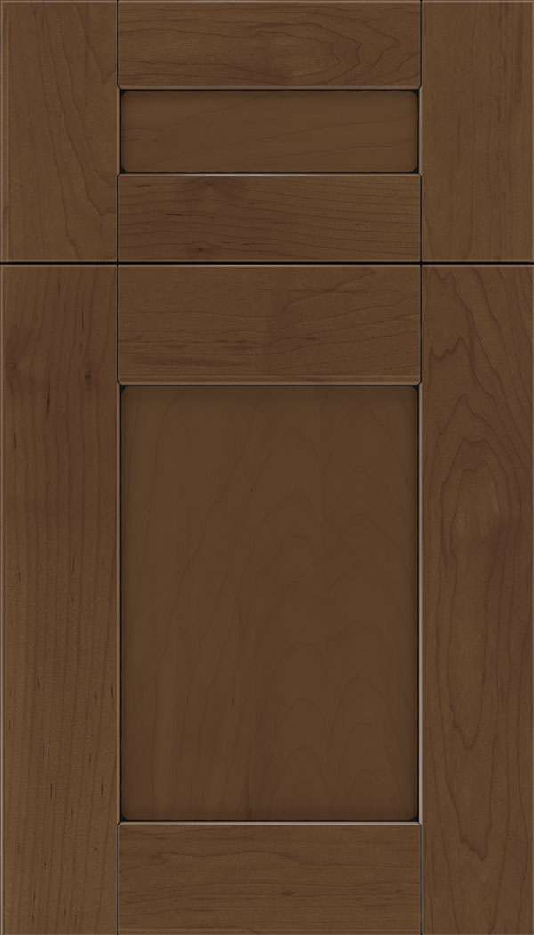 Pearson 5pc Maple flat panel cabinet door in Sienna with Black glaze
