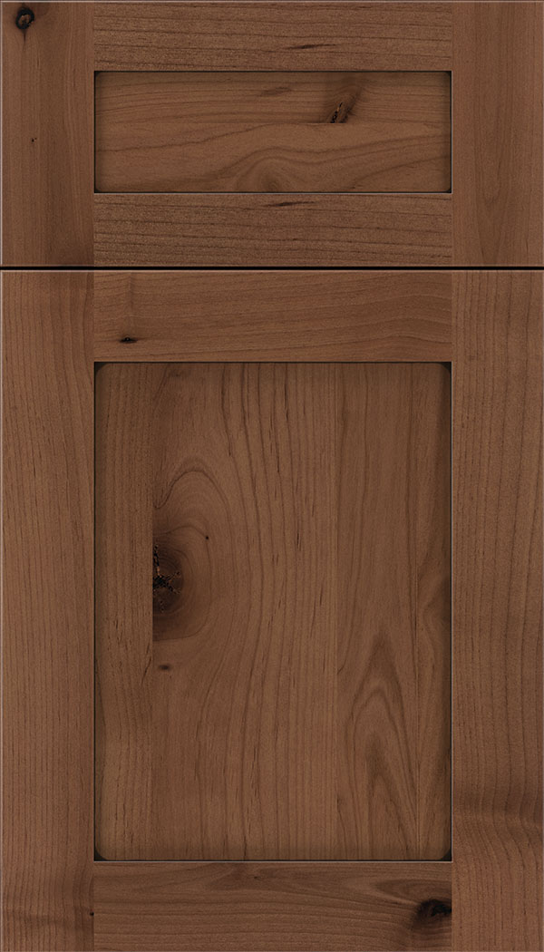 Plymouth 5pc Alder shaker cabinet door in Nutmeg with Black glaze