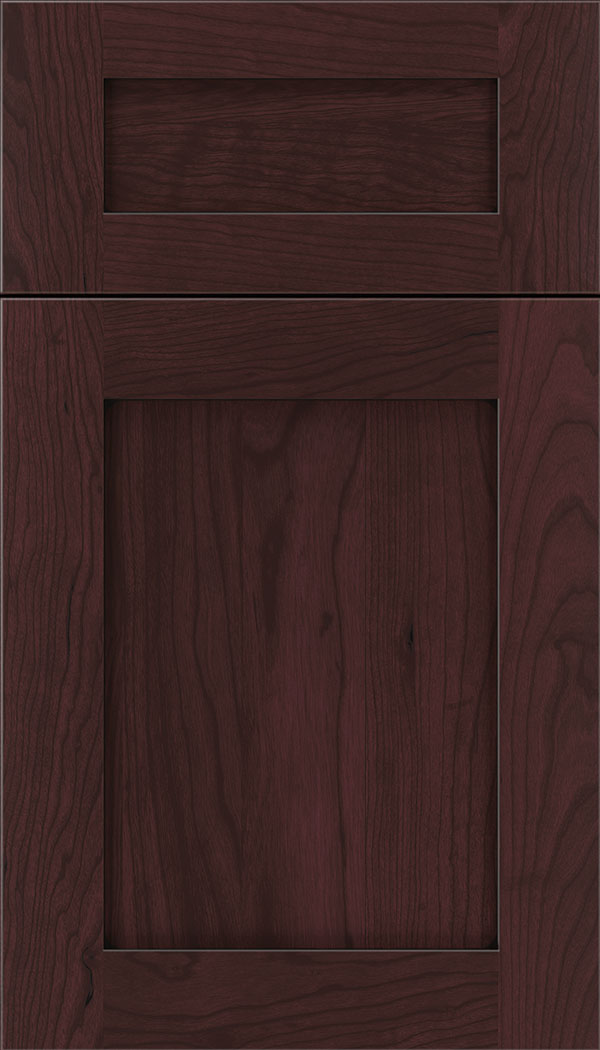 Plymouth 5pc Cherry shaker cabinet door in Bordeaux with Black glaze