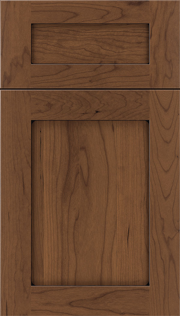 Plymouth 5pc Cherry shaker cabinet door in Nutmeg with Black glaze