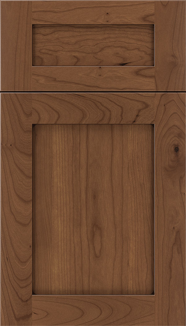 Plymouth 5pc Cherry shaker cabinet door in Nutmeg with Mocha glaze