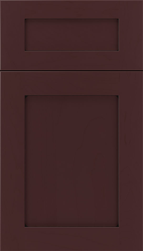 Plymouth 5pc Maple shaker cabinet door in Bordeaux with Black glaze