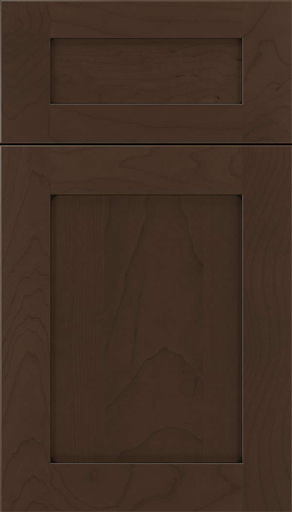 Plymouth 5pc Maple shaker cabinet door in Cappuccino with Black glaze