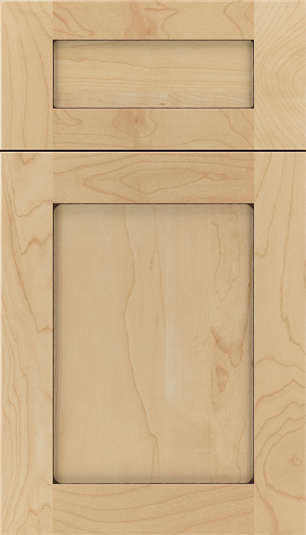 Plymouth 5pc Maple shaker cabinet door in Natural with Mocha glaze