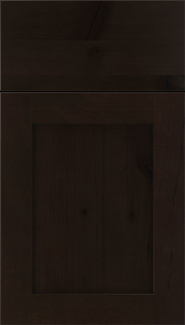 Plymouth Alder shaker cabinet door in Espresso with Black glaze