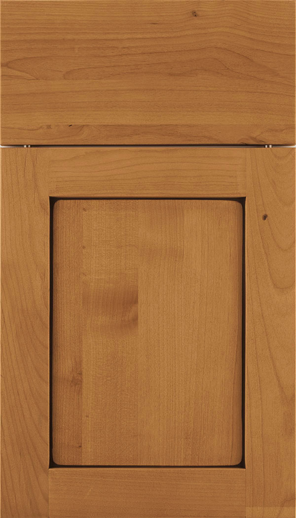 Plymouth Alder shaker cabinet door in Ginger with Mocha glaze