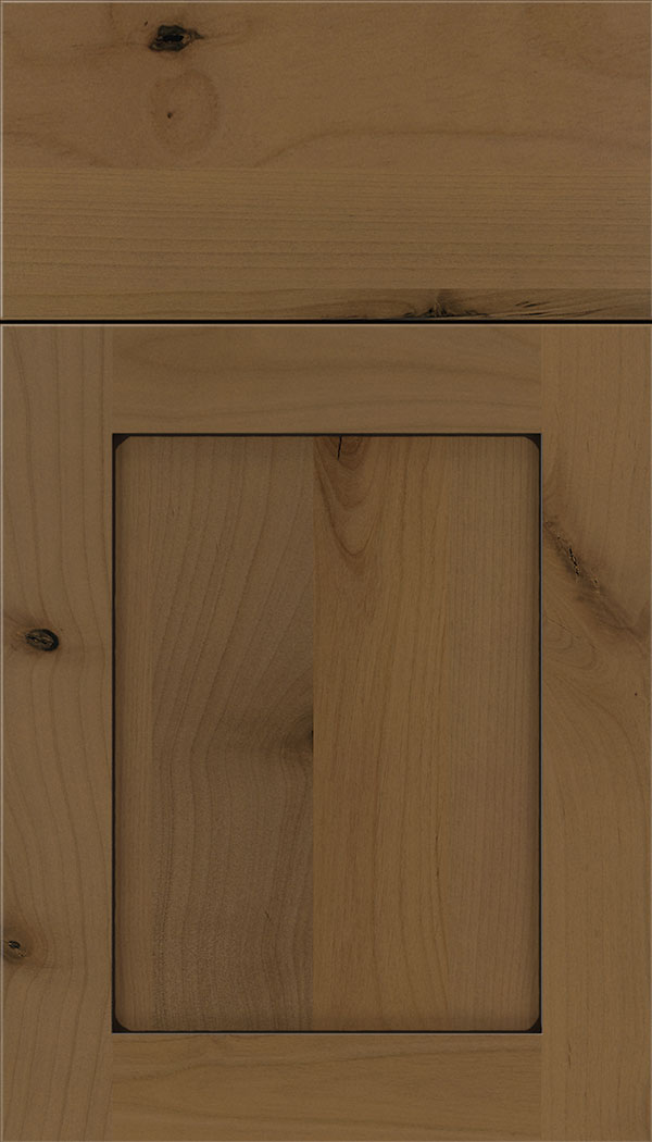 Plymouth Alder shaker cabinet door in Tuscan with Black glaze