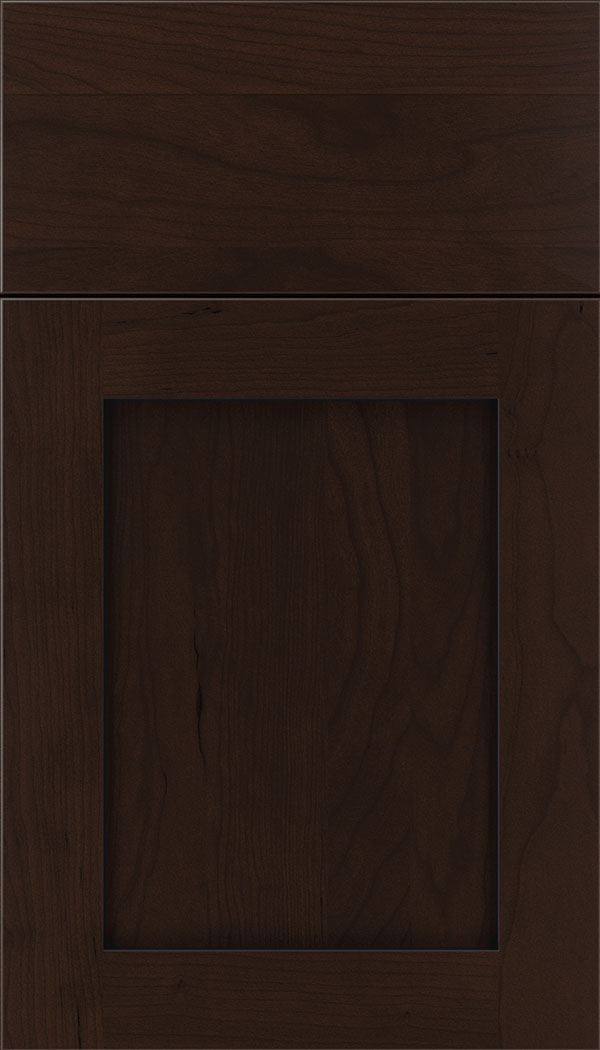 Plymouth Cherry shaker cabinet door in Cappuccino with Black glaze