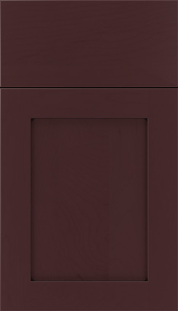 Plymouth Maple shaker cabinet door in Bordeaux with Black glaze