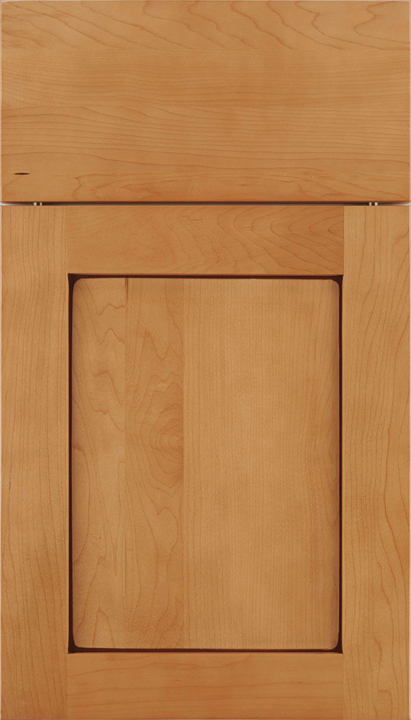 Plymouth Maple shaker cabinet door in Ginger with Mocha glaze