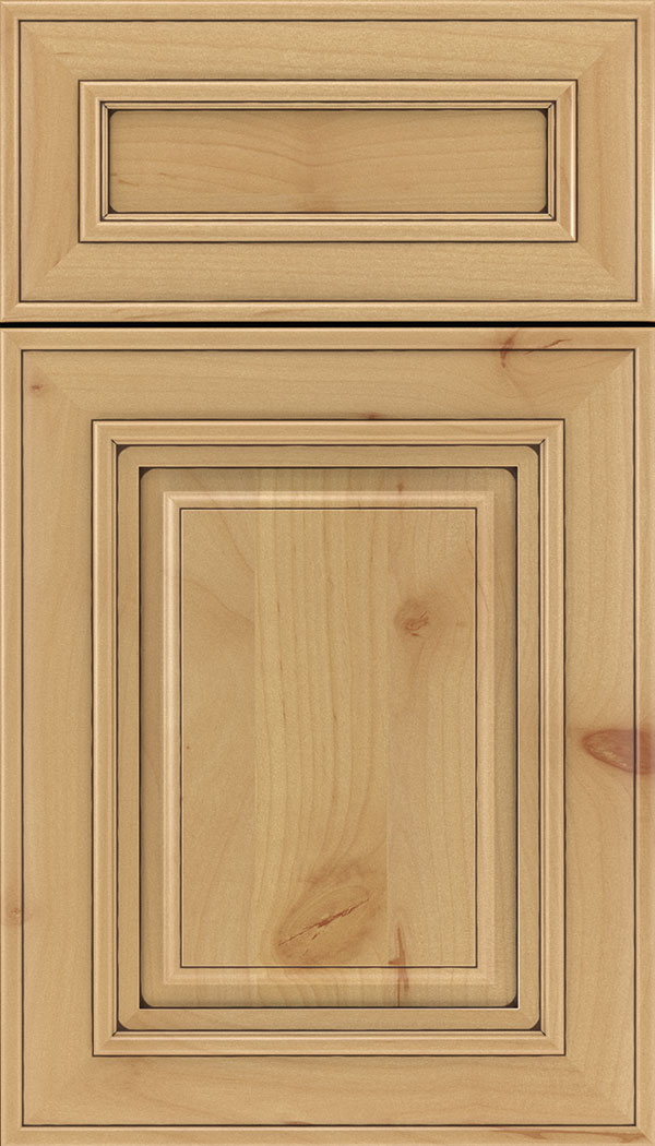 Regency 5pc Alder raised panel cabinet door in Natural with Mocha glaze
