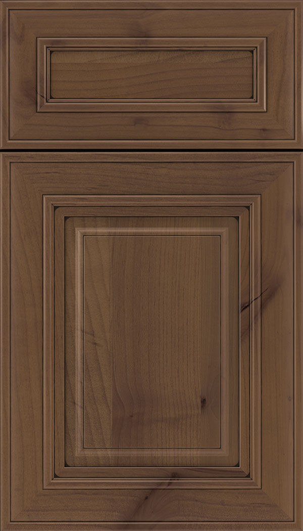 Regency 5pc Alder raised panel cabinet door in Sienna with Black glaze