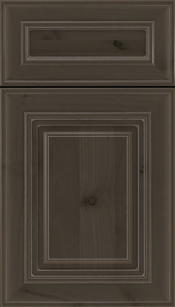 Regency 5pc Alder raised panel cabinet door in Thunder with Pewter glaze