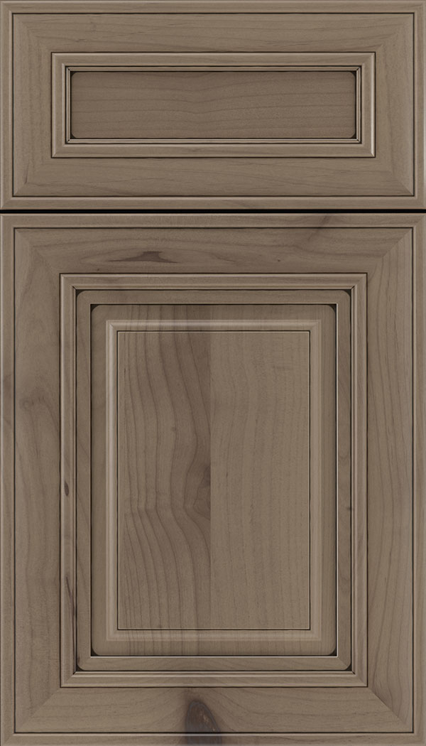 Regency 5pc Alder raised panel cabinet door in Winter with Black glaze