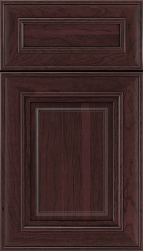 Regency 5pc Cherry raised panel cabinet door in Bordeaux with Black glaze