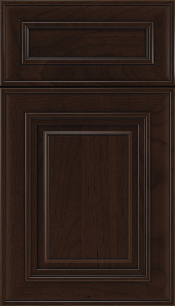 Regency 5pc Cherry raised panel cabinet door in Cappuccino with Black glaze