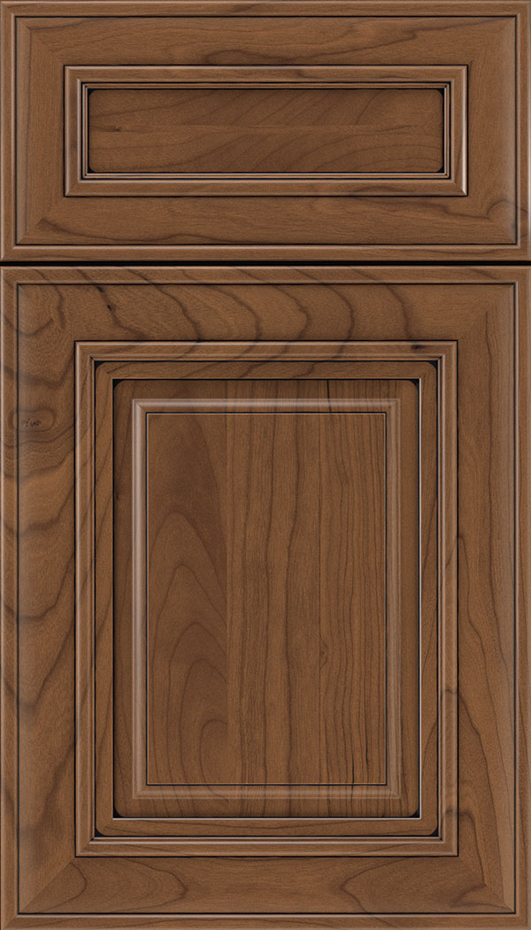 Regency 5pc Cherry raised panel cabinet door in Nutmeg with Black glaze