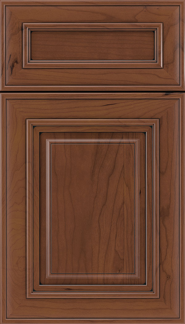 Regency 5pc Cherry raised panel cabinet door in Russet with Black glaze